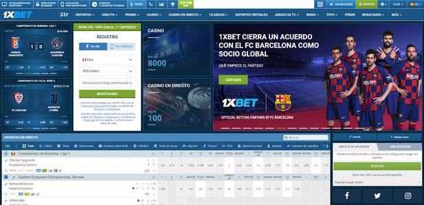 Página de 1XBet Perú
