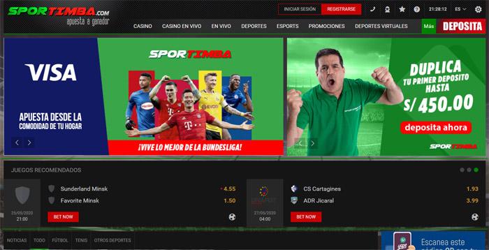 Página Sportimba Perú
