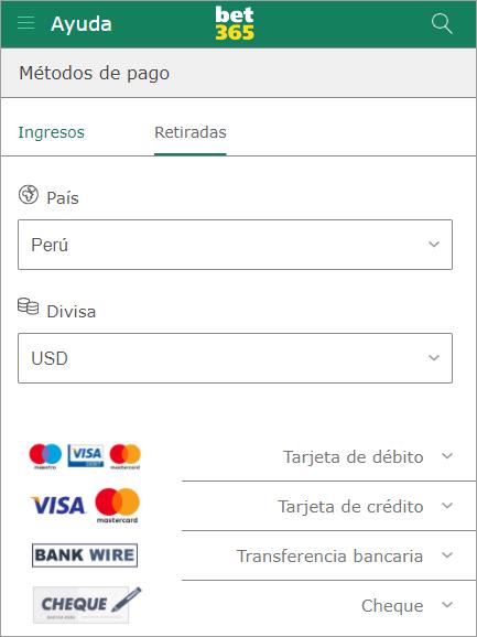Bet365 Perú cómo cobrar dinero